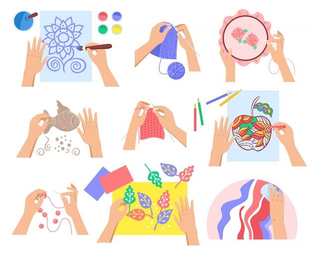 Handgemachter satz des flachen designs mit den verschiedenen kreativen hobbys lokalisiert auf weißer hintergrundillustration Kostenlosen Vektoren