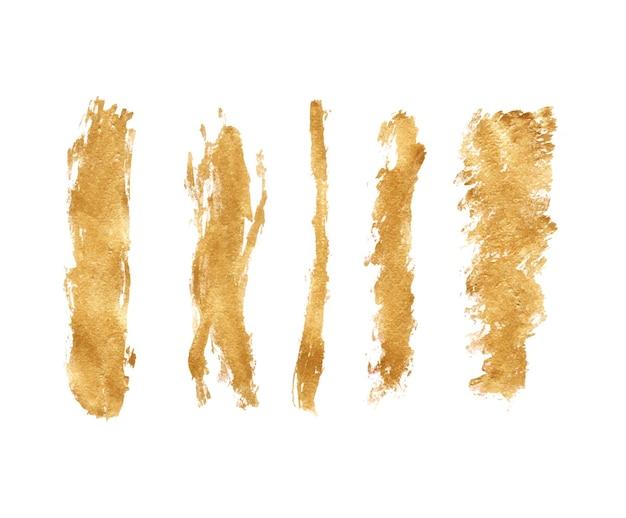 Handgemachtes goldenes pinselstrichset Premium Vektoren