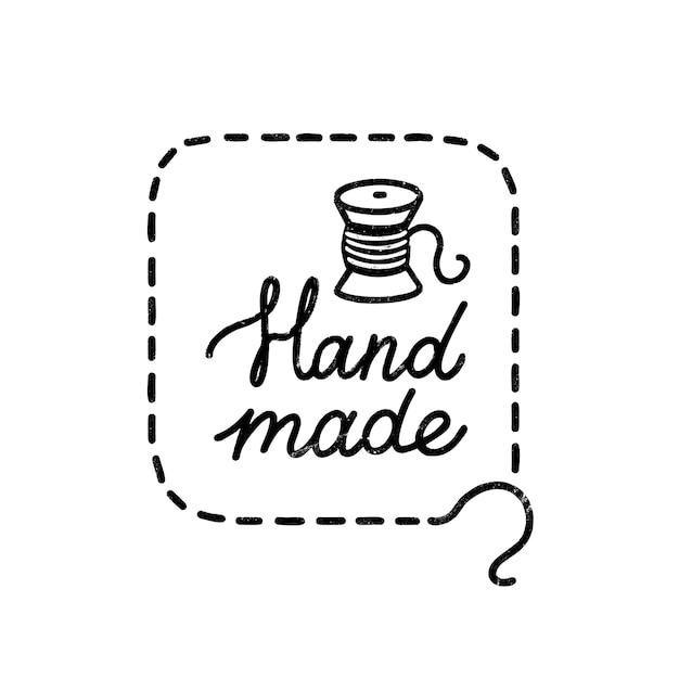Handgemachtes symbol oder logo. weinlese-stempelikone mit handgemachter beschriftung und spule. weinleseillustration für fahne und etikett Premium Vektoren