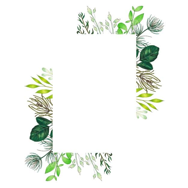 Handgemalt mit markierungsblumenrahmen mit zweig-, niederlassungs- und grünzusammenfassungsblättern Kostenlosen Vektoren