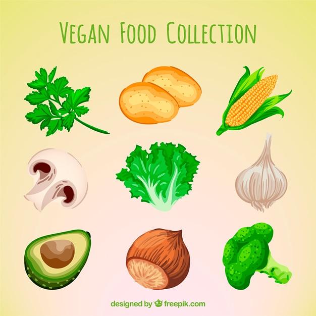 Handgemalte auswahl an veganen essen Kostenlosen Vektoren