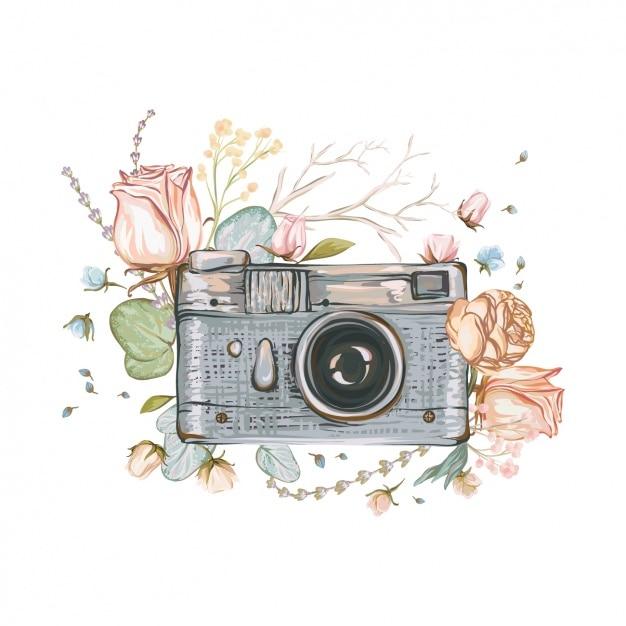 Handgemalte kamera hintergrund Premium Vektoren