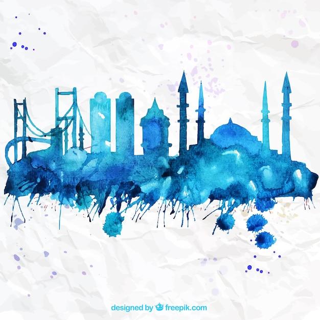 Handgemalte skyline von istanbul Kostenlosen Vektoren