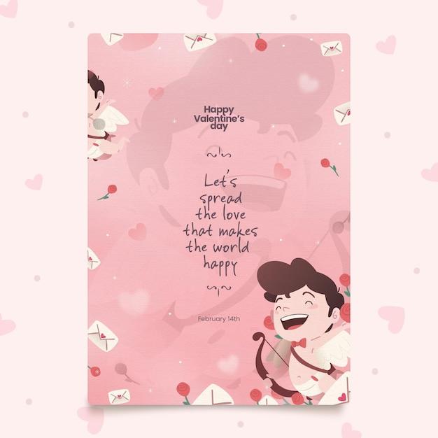 Handgemalte valentinstag party flyer vorlage Premium Vektoren