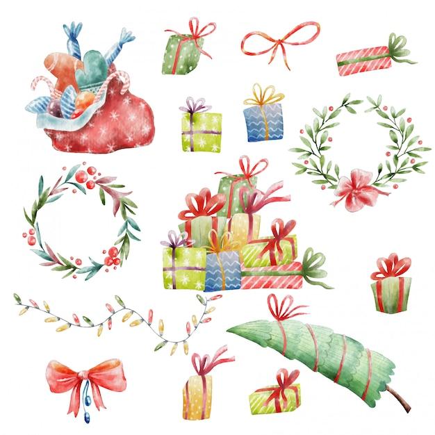 Bilder Weihnachten Clipart.Handgemalte Weihnachten Clipart Download Der Premium Vektor