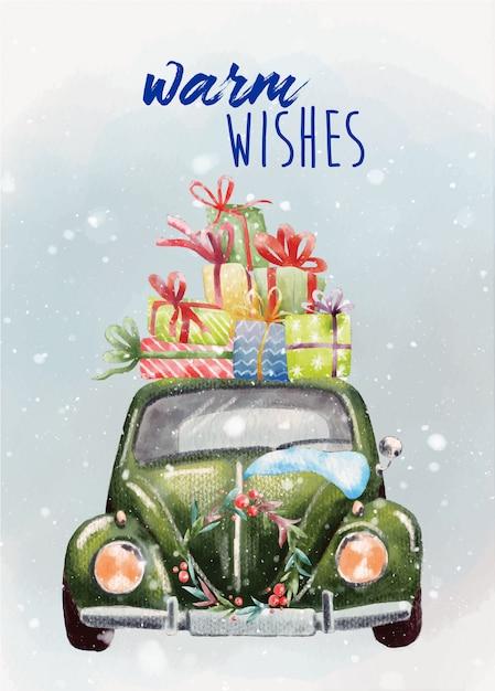 Handgemalte weihnachtskarte mit grünem retro- auto Premium Vektoren