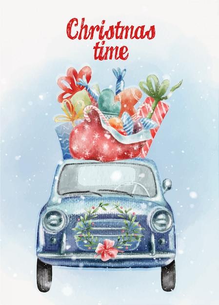 Handgemalte weihnachtspostkarte mit niedlichem retro- auto und geschenken Premium Vektoren