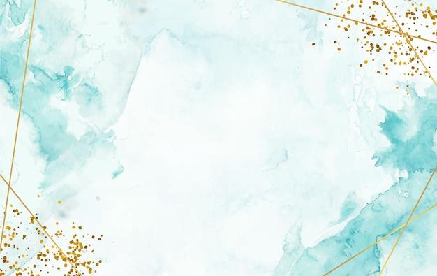 Handgemalter aquarell-spritzhintergrund mit goldlinie und funkeln Premium Vektoren