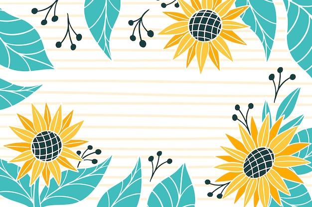 Handgemalter sonnenblumenhintergrund Premium Vektoren
