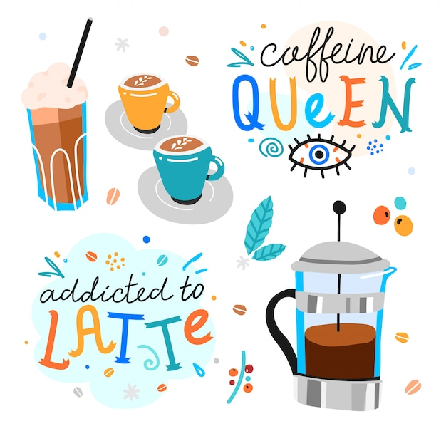 Handgeschriebene beschriftung des kaffees mit kaffeetassen und französischer presse Premium Vektoren