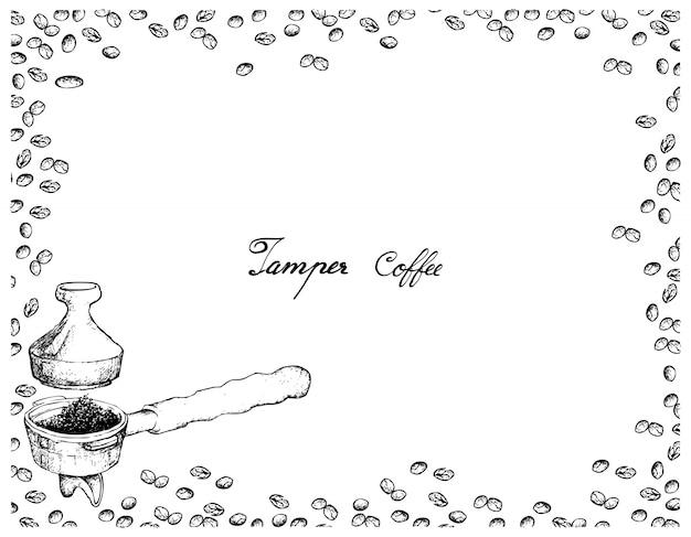 Handgezeichnet von siebträger mit manipulation für kaffeemaschine Premium Vektoren