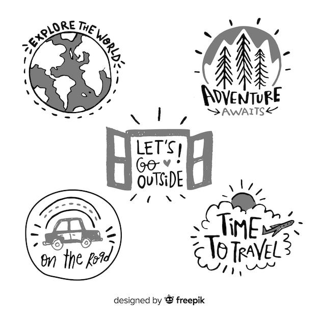 Handgezeichnete abenteuer logo sammlung Kostenlosen Vektoren