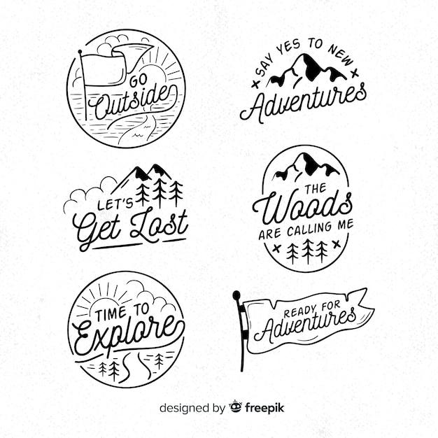 Handgezeichnete abenteuer logosammlung Kostenlosen Vektoren