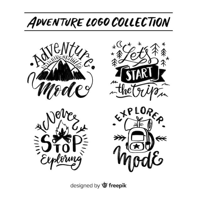 Handgezeichnete adventure-logo-sammlung Kostenlosen Vektoren