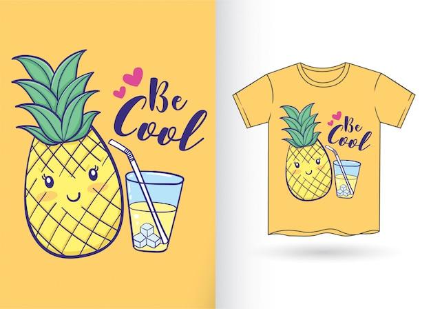 Handgezeichnete ananas für t-shirt Premium Vektoren