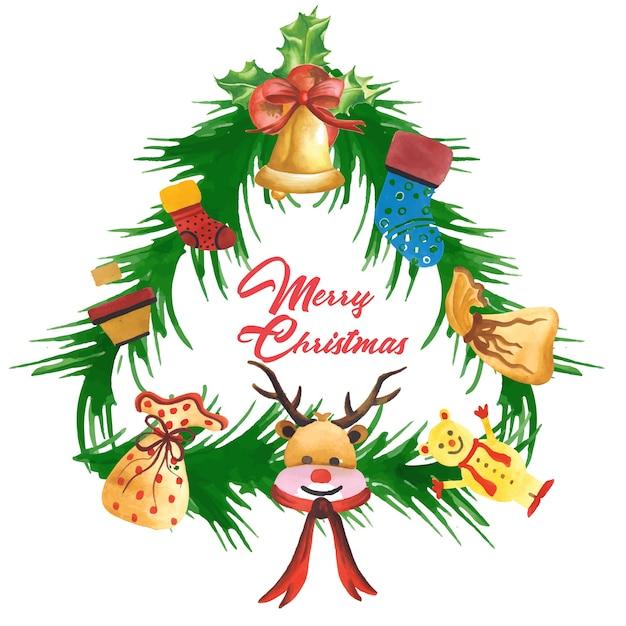 Handgezeichnete aquarell weihnachten rahmen designs - Aquarell weihnachten ...