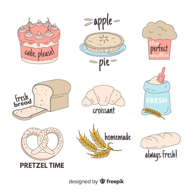Handgezeichnete bäckerei abzeichen sammlung Kostenlosen Vektoren