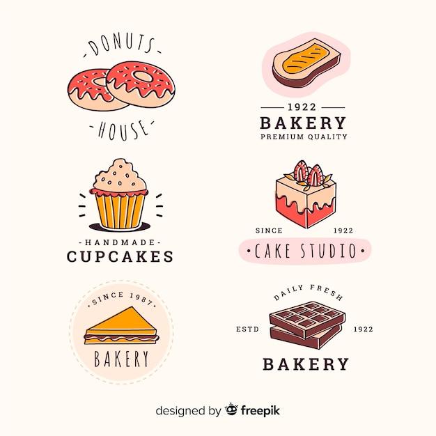 Handgezeichnete bäckerei abzeichen sammlung Premium Vektoren