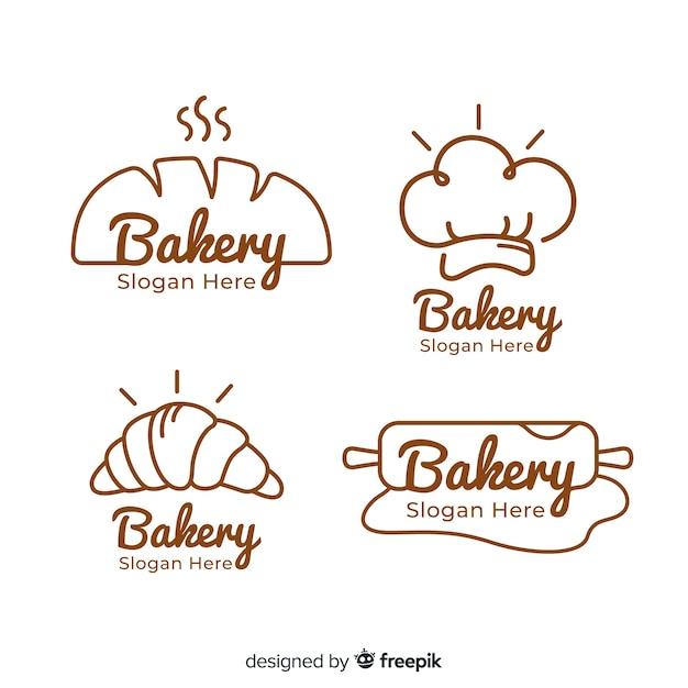 Handgezeichnete bäckerei logos sammlung Kostenlosen Vektoren
