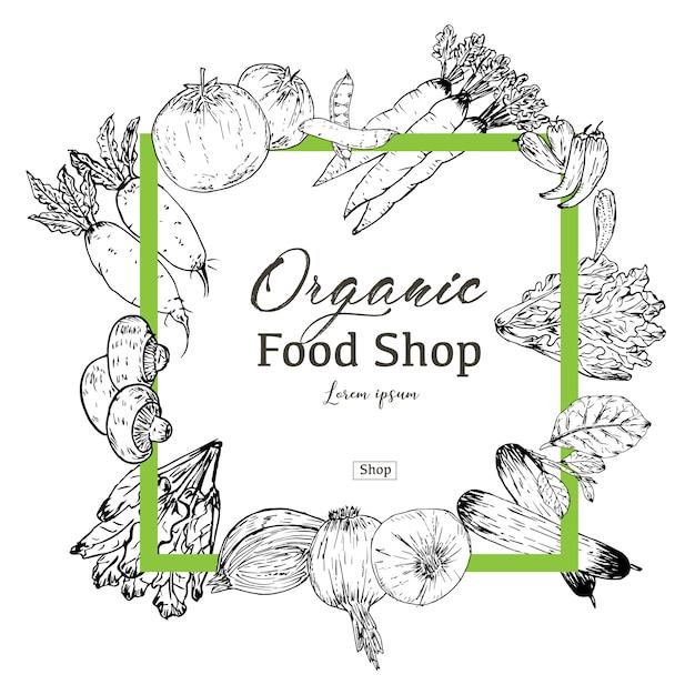 Handgezeichnete bio-lebensmittel-banner. bio kräuter und gewürze. gesunde nahrungsmittelzeichnungen für verkauf. vektor-illustration Premium Vektoren