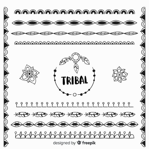 Handgezeichnete boho dekorative elementsammlung Kostenlosen Vektoren