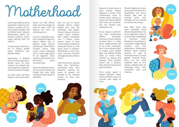 Handgezeichnete buchseiten zur mutterschaft, einschließlich liebevoller frauen mit kleinen babys bei verschiedenen aktivitäten, Kostenlosen Vektoren