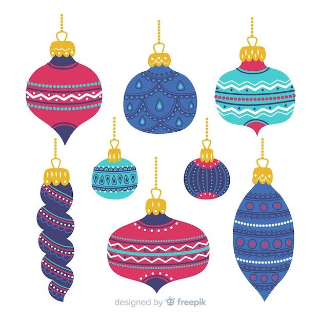 Handgezeichnete bunte weihnachtskugeln Kostenlosen Vektoren