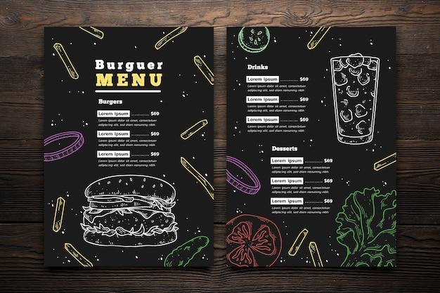 Handgezeichnete burger menüvorlage Kostenlosen Vektoren