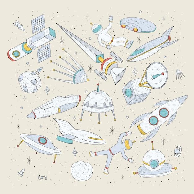 Handgezeichnete cartoon-weltraumplaneten, shuttles, raketen, satelliten, kosmonauten und andere elemente. setze kritzeleien kosmischer symbole und objekte. Premium Vektoren