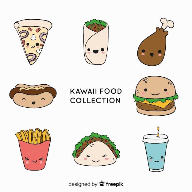 Handgezeichnete charmante fast-food-sammlung Kostenlosen Vektoren