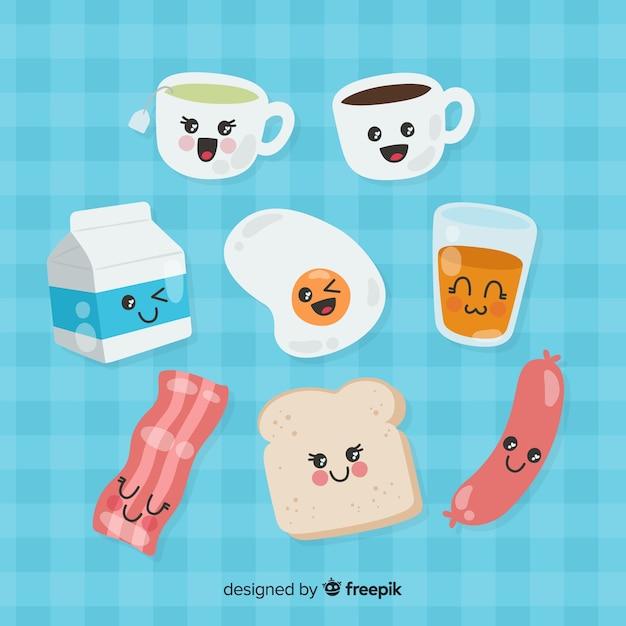 Handgezeichnete charmante frühstückssammlung Kostenlosen Vektoren