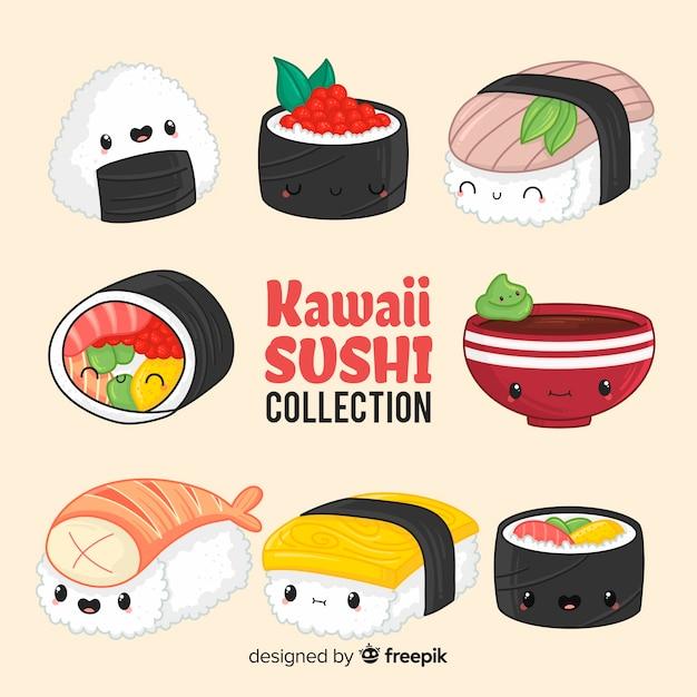 Handgezeichnete charmante sushi-sammlung Kostenlosen Vektoren