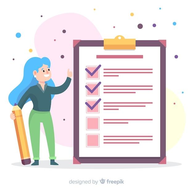 Handgezeichnete checkliste hintergrund Kostenlosen Vektoren