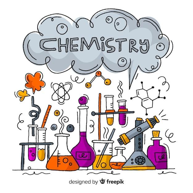 Handgezeichnete chemie hintergrund Kostenlosen Vektoren