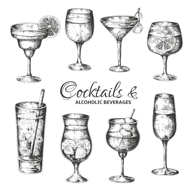 Handgezeichnete cocktails. vintage gläser mit alkohol und alkoholischen getränken, sommergetränke skizzenmenü. Premium Vektoren