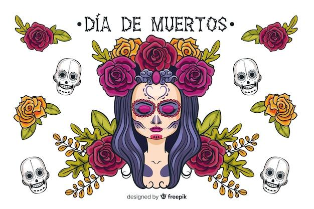 Handgezeichnete día de muertos hintergrund Kostenlosen Vektoren