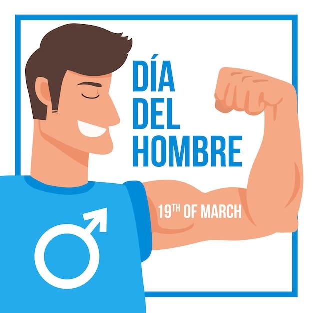Handgezeichnete dia del hombre illustration Kostenlosen Vektoren