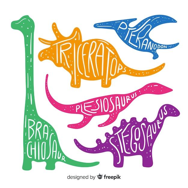 Handgezeichnete dinosauriersammlung Kostenlosen Vektoren