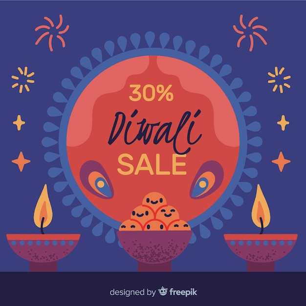 Handgezeichnete diwali verkauf mit 30% rabatt Kostenlosen Vektoren