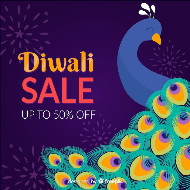 Handgezeichnete diwali verkauf mit 50% rabatt und pfau Kostenlosen Vektoren