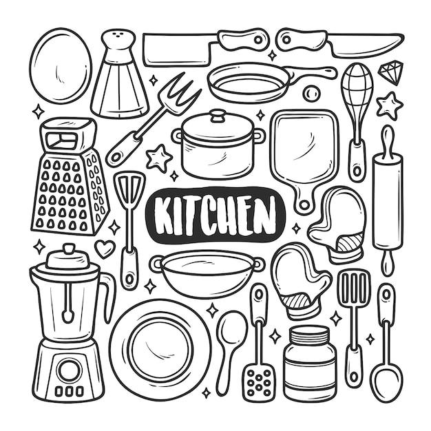 Handgezeichnete doodle-färbung der küchenikonen Premium Vektoren