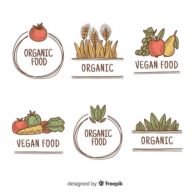 Handgezeichnete einfache bio-lebensmittel-etiketten Kostenlosen Vektoren