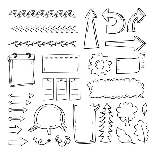 Handgezeichnete elemente für bullet journals pack Kostenlosen Vektoren