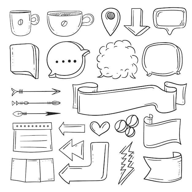Handgezeichnete elemente für die sammlung von aufzählungszeichen Kostenlosen Vektoren