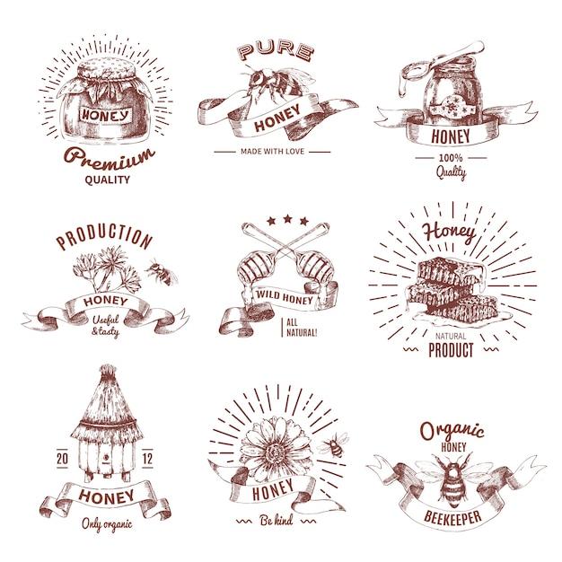 Handgezeichnete embleme des honigs Kostenlosen Vektoren