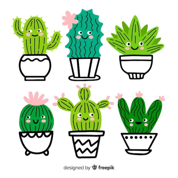 Handgezeichnete entzückende kaktussammlung Kostenlosen Vektoren