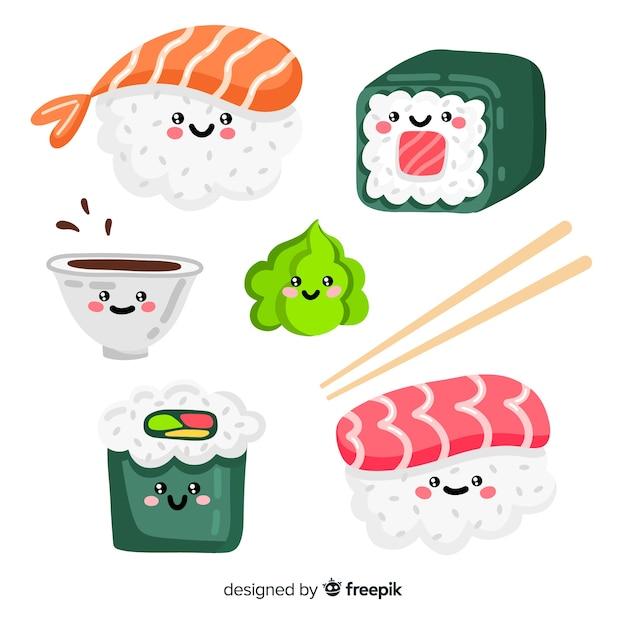 Handgezeichnete entzückende sushi-sammlung Kostenlosen Vektoren