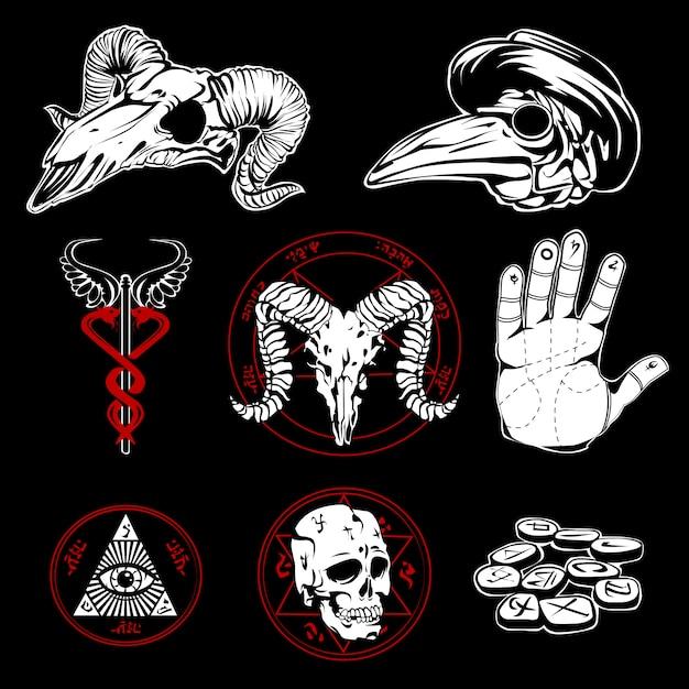 Handgezeichnete esoterische symbole und geheimnisvolle attribute Kostenlosen Vektoren