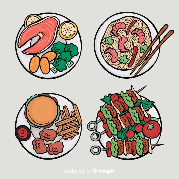 Handgezeichnete essen gerichte sammlung Kostenlosen Vektoren