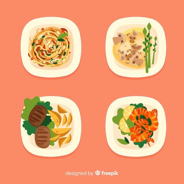 Handgezeichnete essen gerichtssammlung Kostenlosen Vektoren